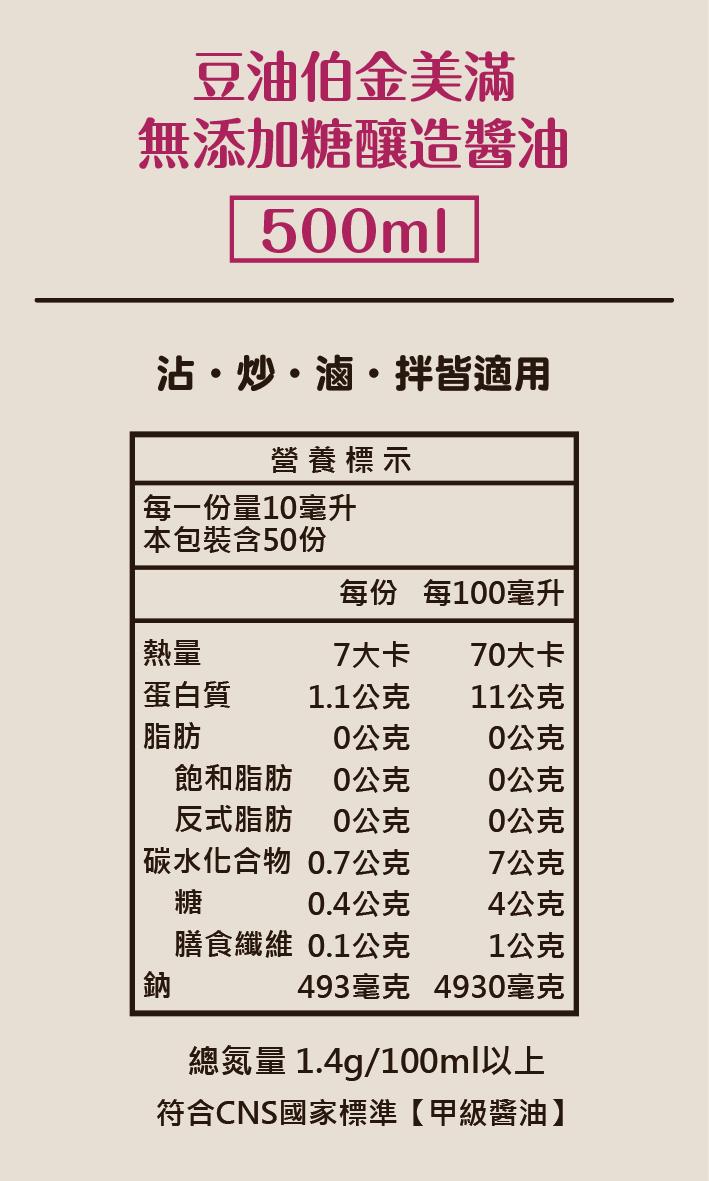 官網派對版_豆油伯金美滿醬油(無添加糖)500ml
